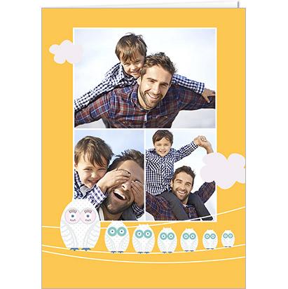 Carte photo bonne Fête Papas avec des petites chouettes