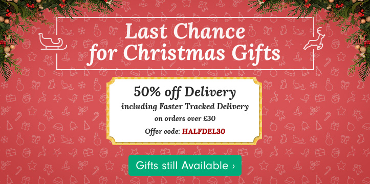 Last Chance for Christmas Gifts with 50% off Tracked Christmas Delivery