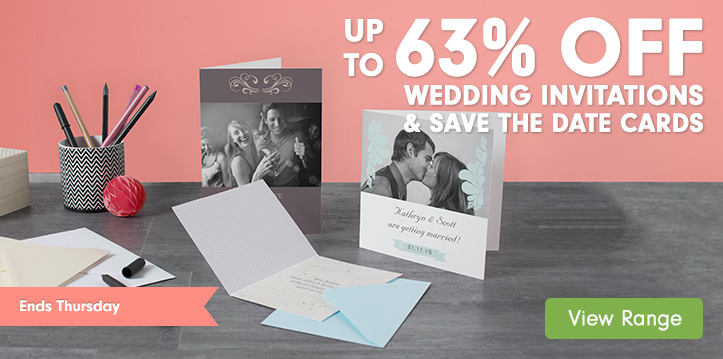 Up to 63% off Wedding Invitations and Save the Date Cards