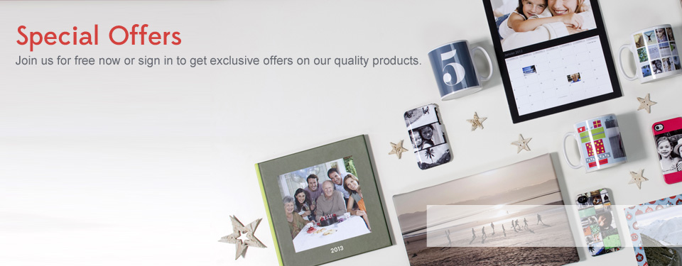 Sign in for offers on PhotoBooks, Photo Canvas, Photo Prints & many more photo products
