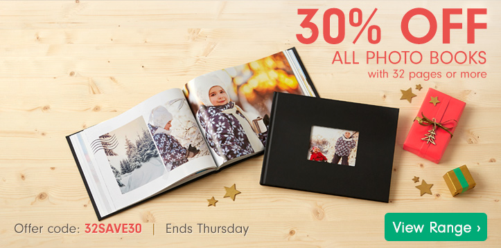 30% off all Photo Books - with 32 pages or more