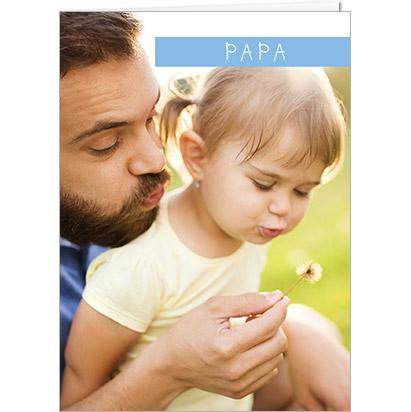 Carte personnalisable Fête des Pères avec bande bleu