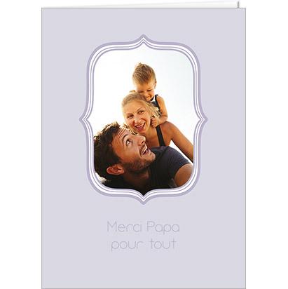 Carte Fête des Papas personnalisable cadre violet et photo