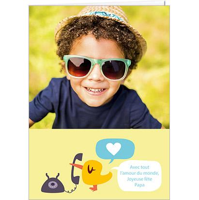 Carte Fête des Papas personnalisable petit oiseau qui parle dans une bulle