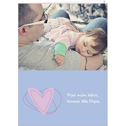 Carte Fête des Pères personnalisable Cœur Rose sur fond bleu