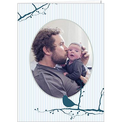Carte Fête des Pères personnalisable Pissenlit Bleu et photo